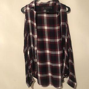 Plaid button down shirt with open cut shoulders.